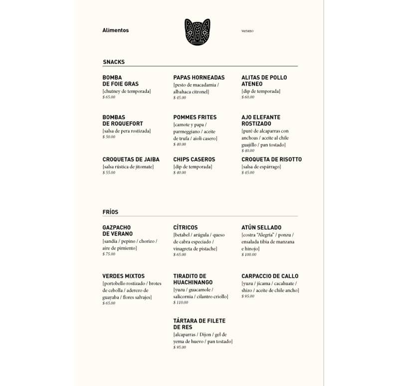 ateneo condesa menu design indesign