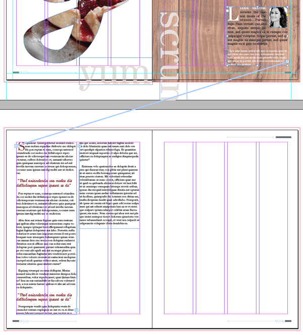 magazine layout design indesign text threaded