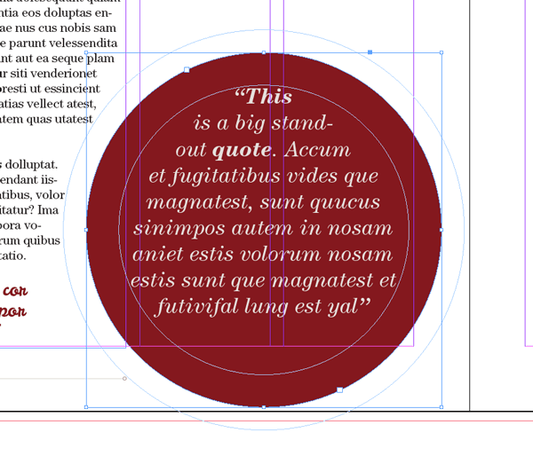 magazine layout design indesign text typography ellipse tool shape