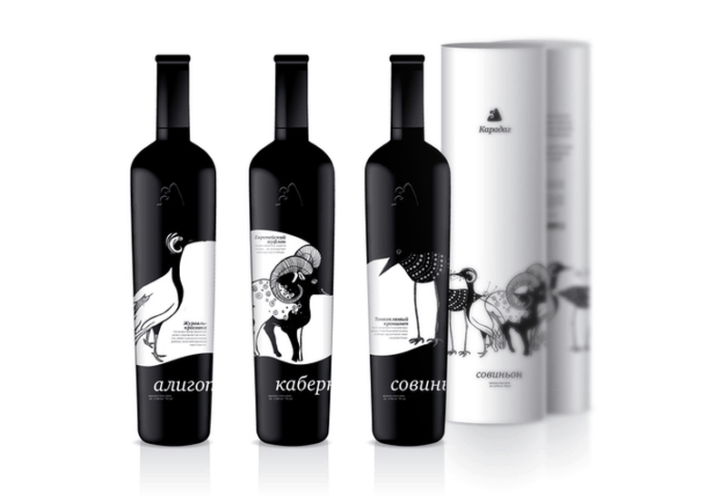 Karadag wine bottle label design indesign