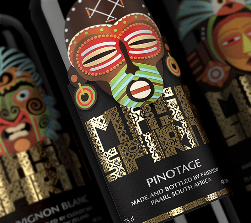 Mask Spirit wine bottle label design indesign
