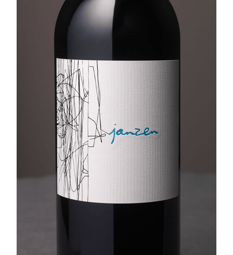 Janzen wine bottle label design indesign