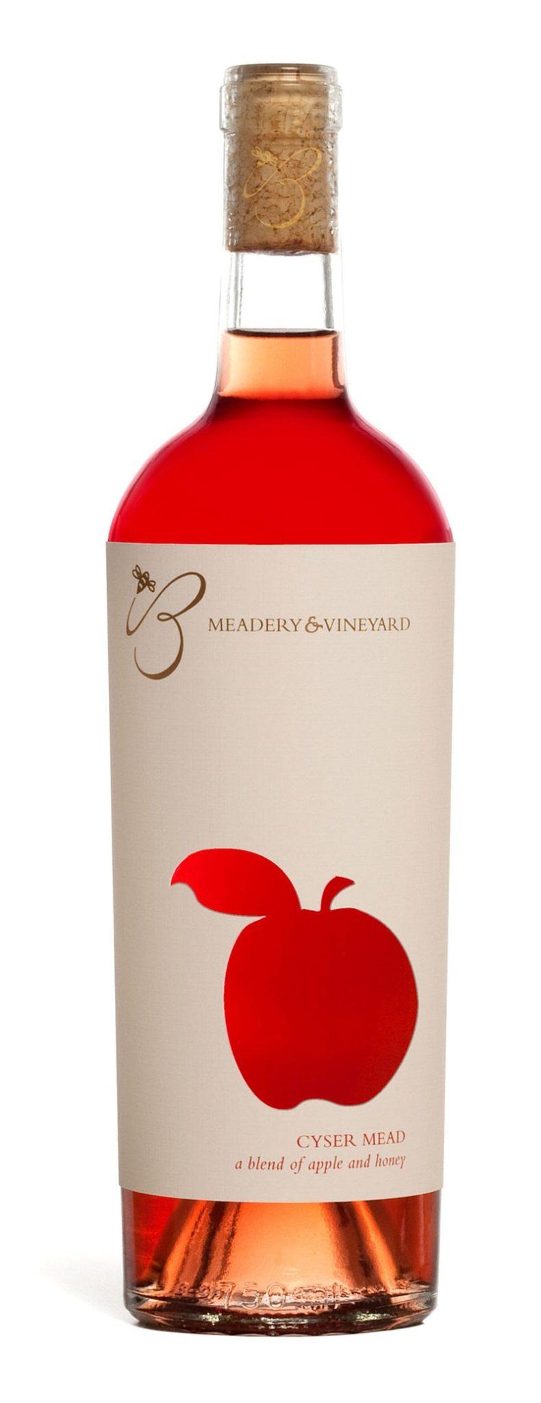 B Meadery and Vineyard wine bottle label design indesign