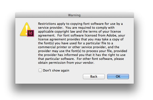 indesign packaging file package files font copy warning