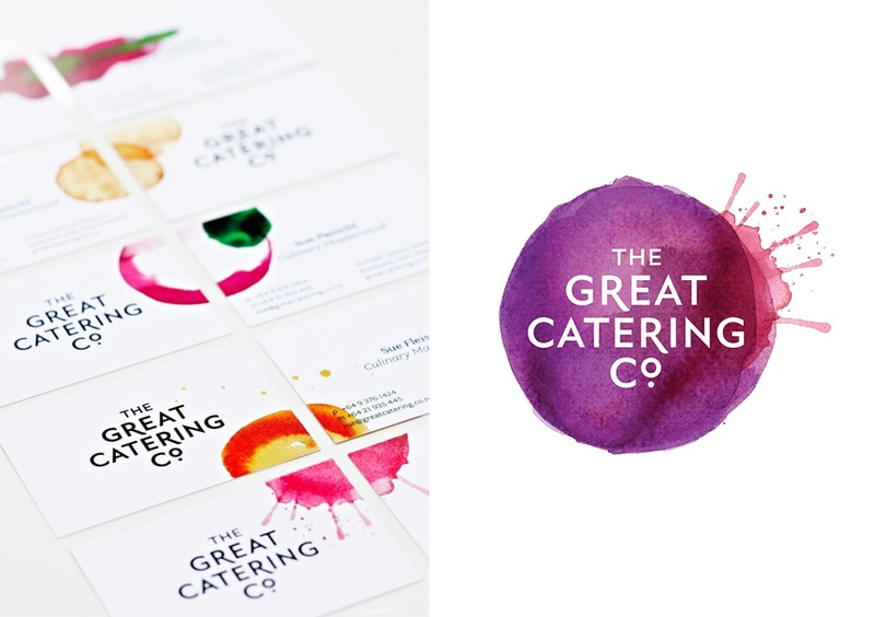 business card design watercolor painterly minimal indesign great catering co