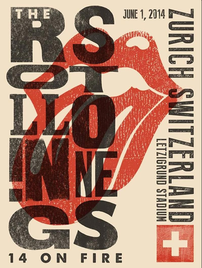 flyer design promotional marketing gig concert the rolling stones zurich