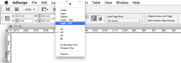 page size page tool resize indesign