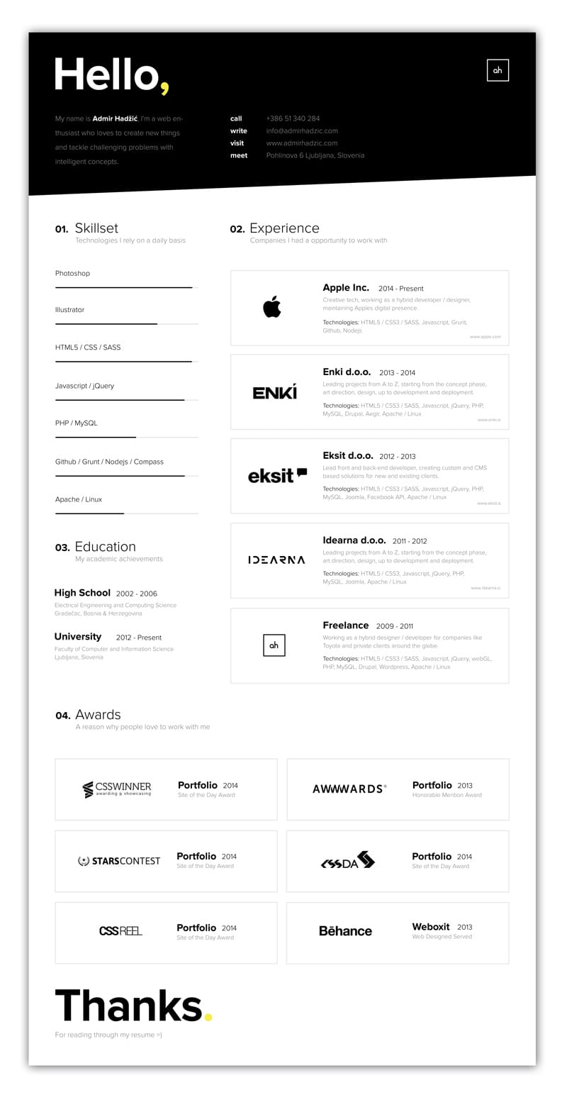 indesign cv resume inspiration minimal color amir hadzic