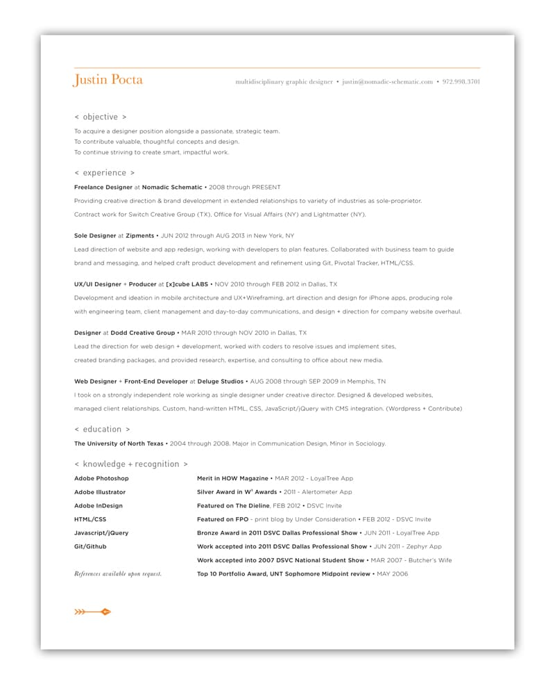 indesign cv resume inspiration minimal color justin pocta