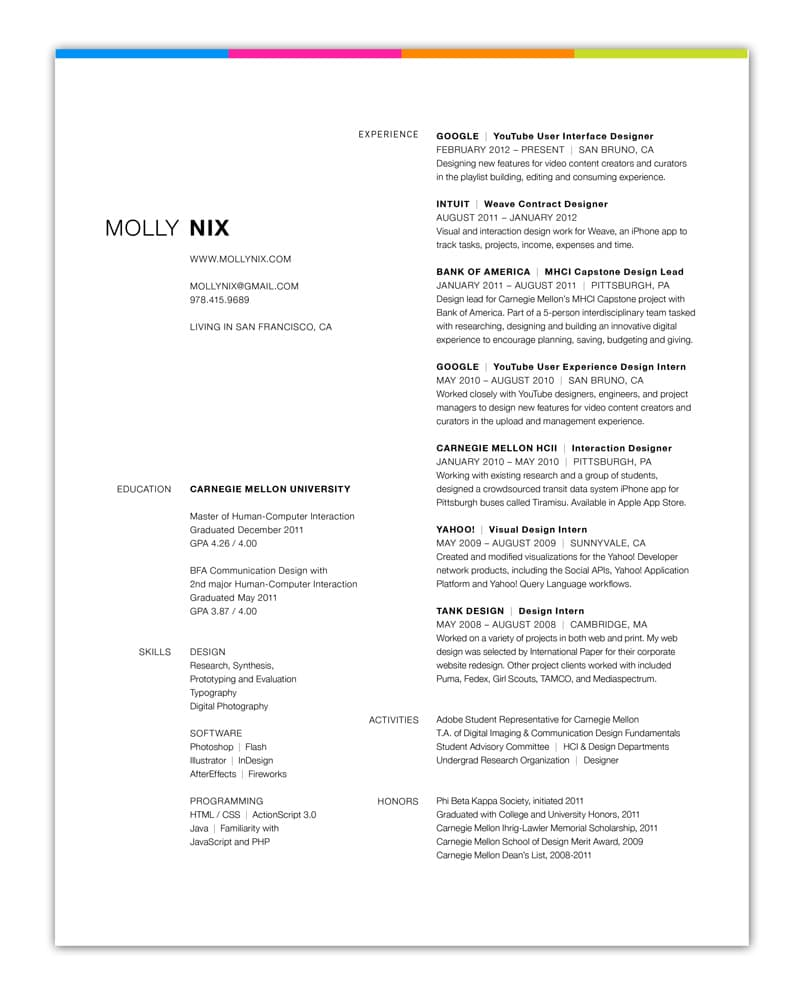 Indesign Cv Resume Inspiration Minimal Color Molly Nix  Resume In Indesign