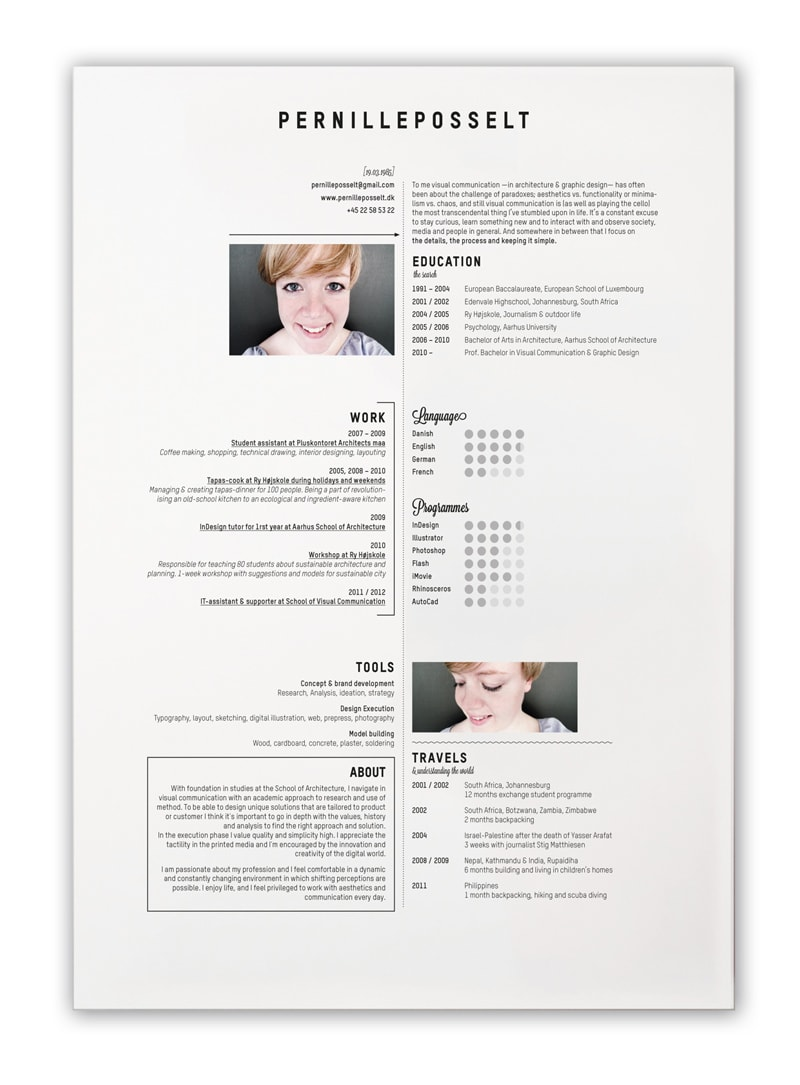 indesign cv resume inspiration pernille posselt