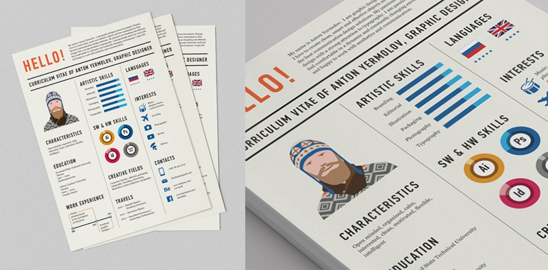indesign cv resume inspiration minimal color anton yermolov