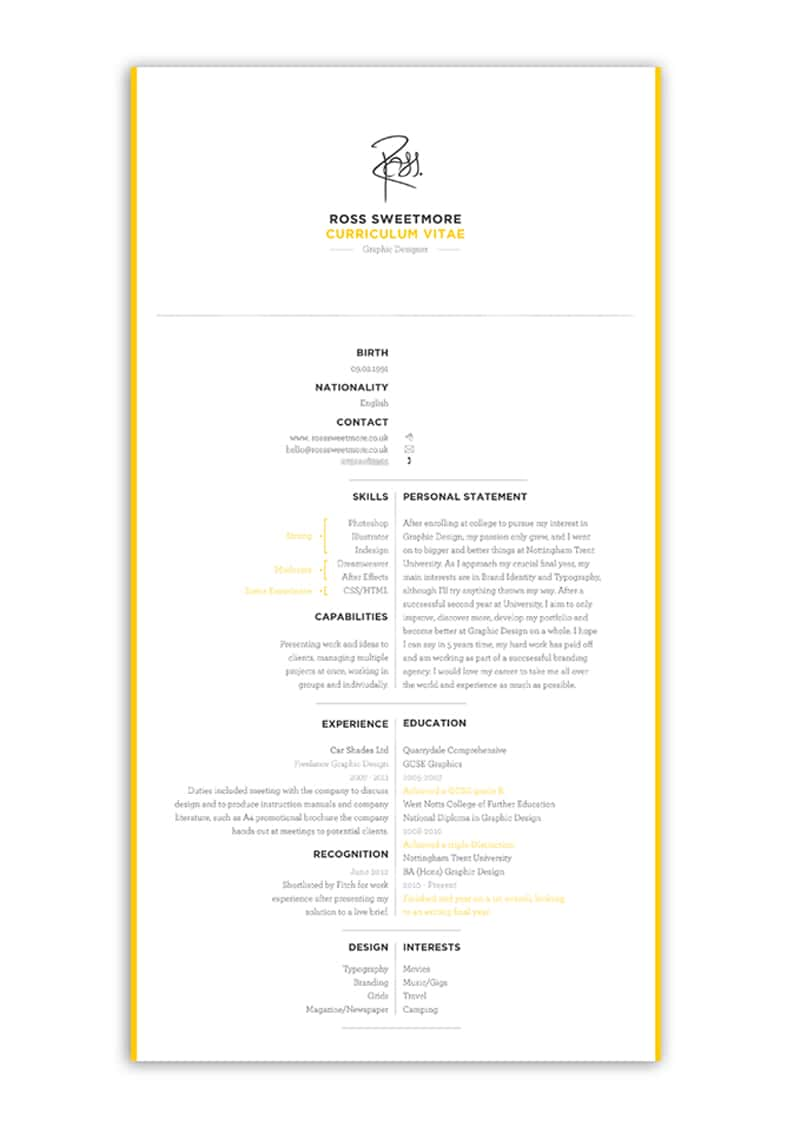 Indesign Cv Resume Inspiration Personal Brand Ross Sweetmore