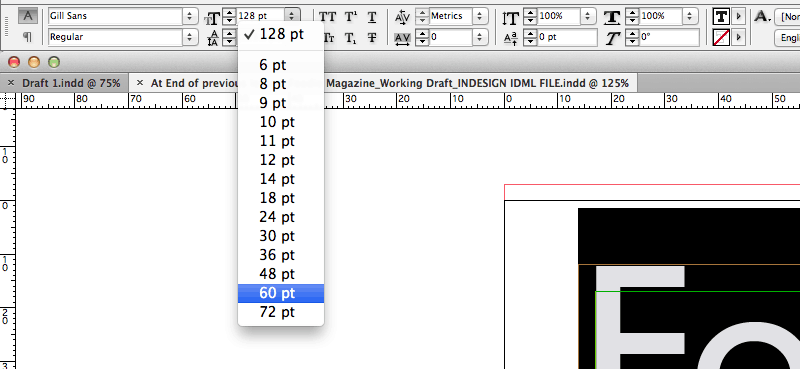 typography indesign font size
