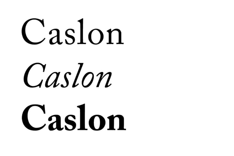 fonts for books typesetting novels academic non-fiction caslon