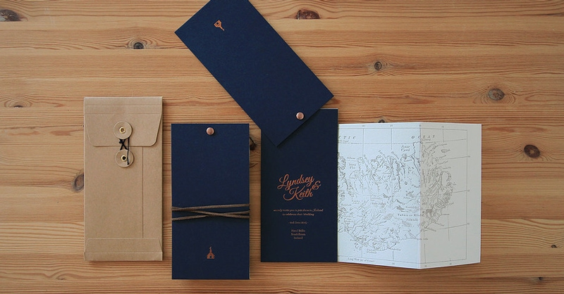 wedding invitations invite stylish unique modern beautiful design copper foil hunter press iceland map