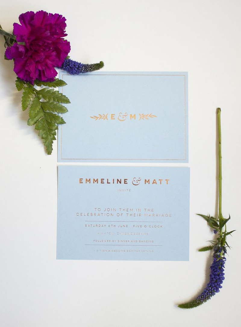 wedding invitations invite stylish unique modern beautiful design pale blue gold paperbowl london katie