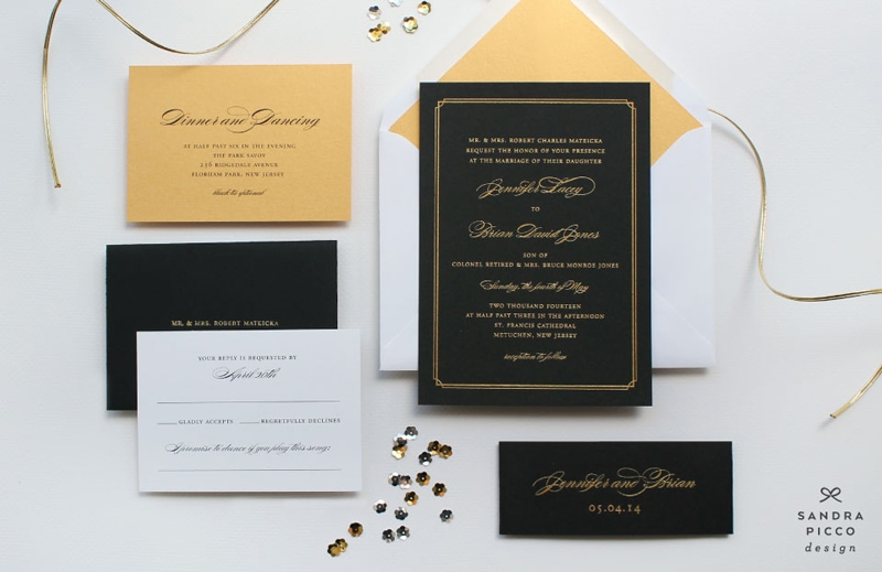 wedding invitations invite stylish unique modern beautiful design black gold elegant formal sandra picco