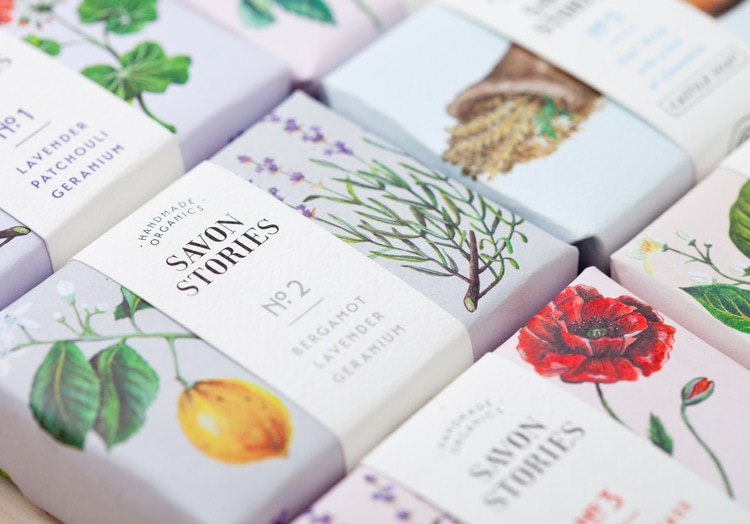 botanical graphic design flowers vintage packaging branding inspiration savon stories soap labels