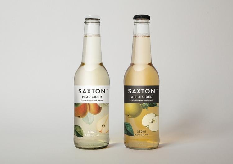 botanical graphic design flowers vintage packaging branding inspiration cider drinks bottle label saxton cider