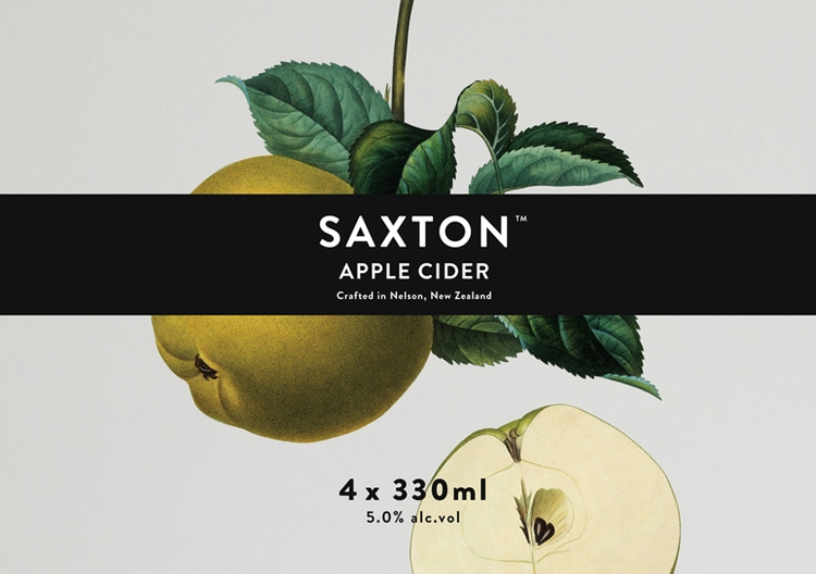 botanical graphic design flowers vintage packaging branding inspiration cider drinks bottle label saxton cider