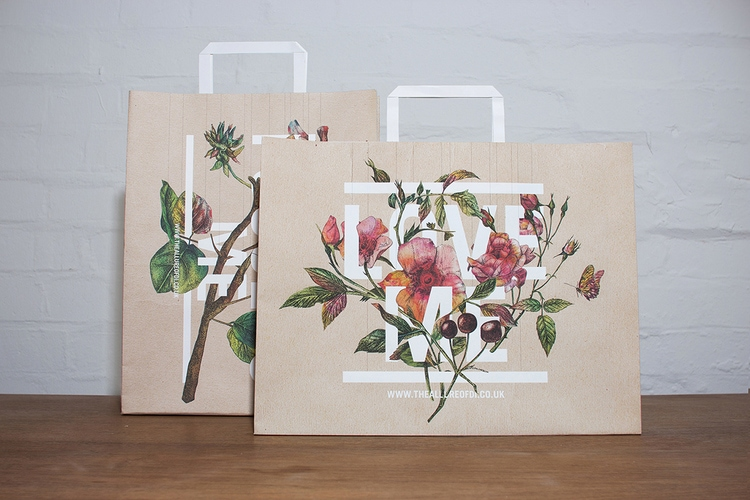 botanical graphic design flowers vintage packaging branding inspiration shopping bag paper bag brown bag beautiful