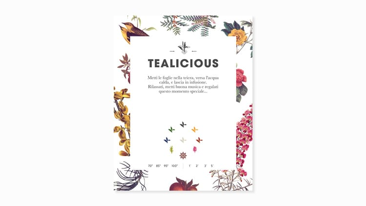 tealicious botanical graphic design flowers vintage packaging coffee tea branding inspiration
