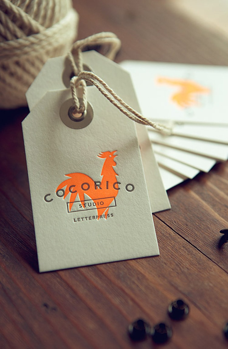 coco rico letterpress invites labels stationery logos modern
