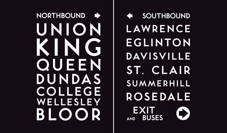 vintage retro authentic fonts era fifties mid-century retro toronto subway gill sans