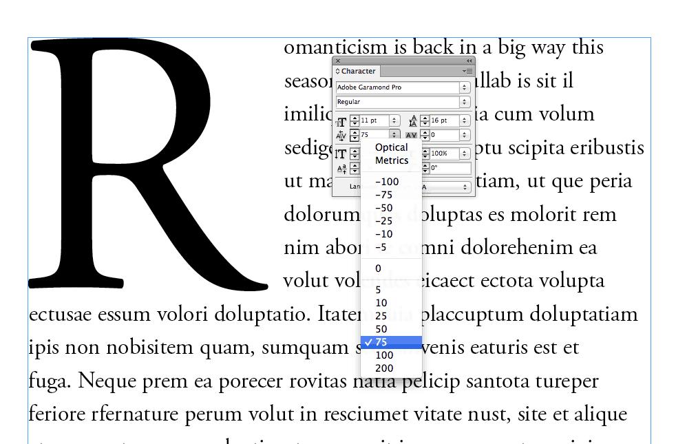 drop cap adobe indesign typography magazine design