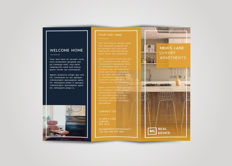 Real estate flyer free InDesign template - outside view of tri-fold real estate flyer