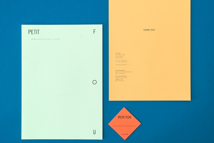 retro branding brand design brand identity mondrian primary colors bauhaus swiss school petit fou stationery
