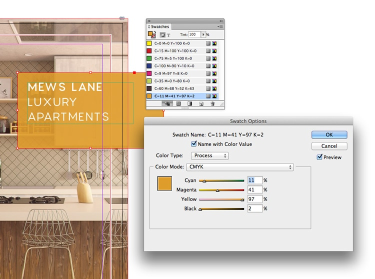indesign templates change swatch