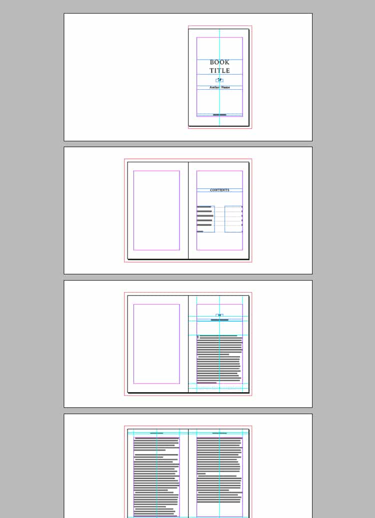 screenshot of indesign book template with contents typesetting chapter heading