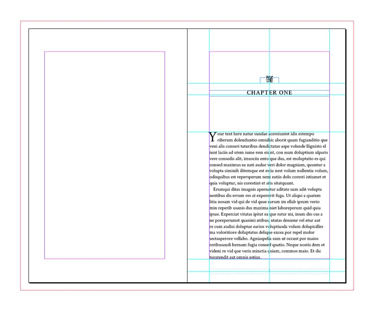 Screenshot of chapter heading - free InDesign book template