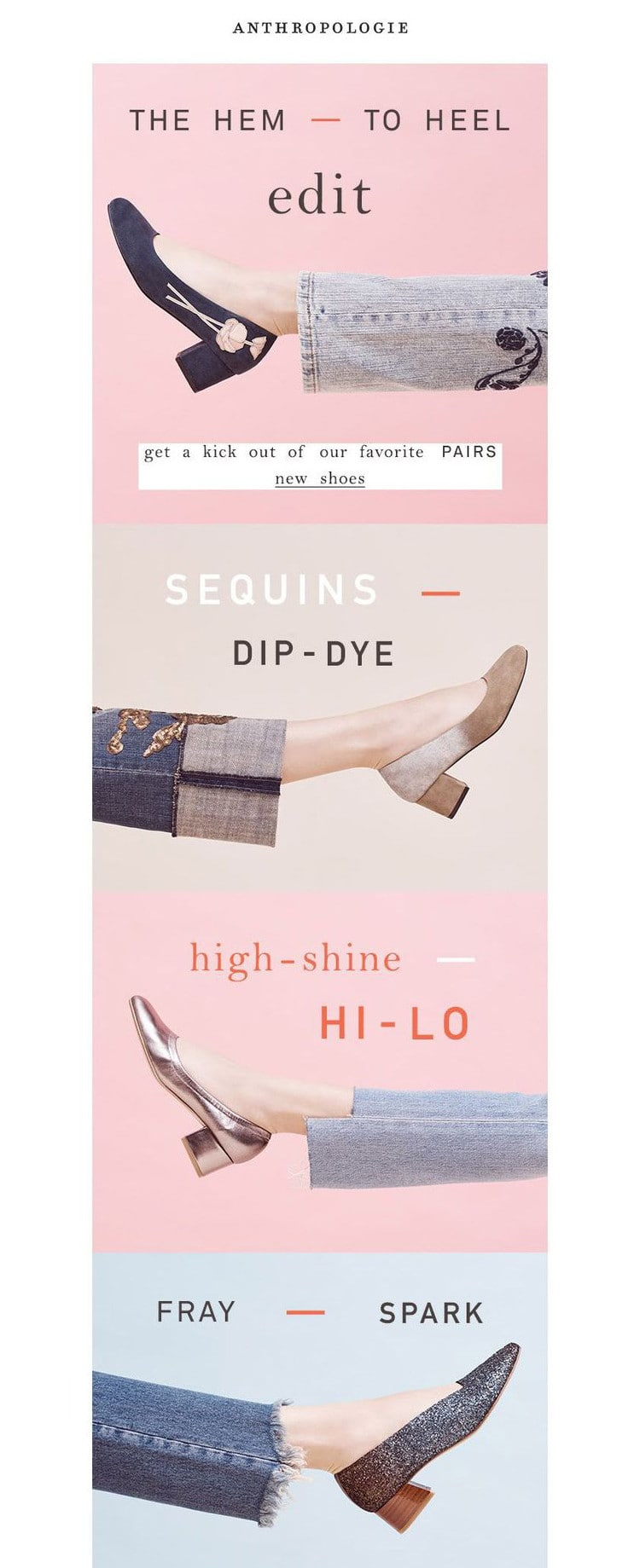 e-newletter email newsletter marketing design layout inspiration anthropologie fashion shoes youthful fun pink