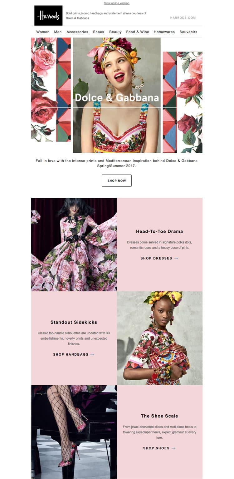 e-newletter email newsletter marketing design layout inspiration harrods fashion designer spring fun feminine