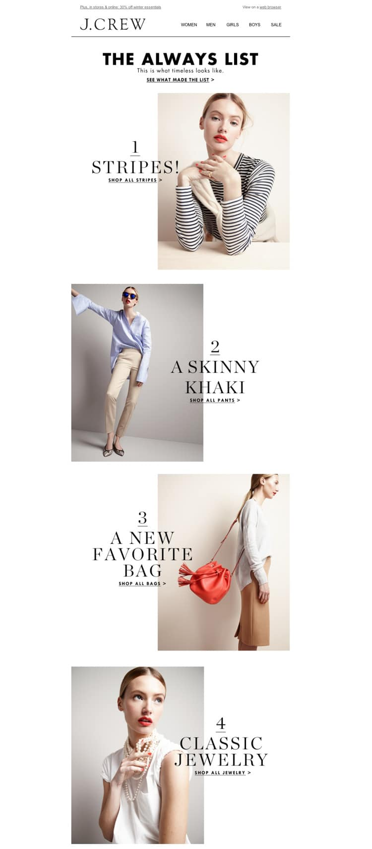e-newletter email newsletter marketing design layout inspiration j crew j.crew clothing simple minimal stylish fashion