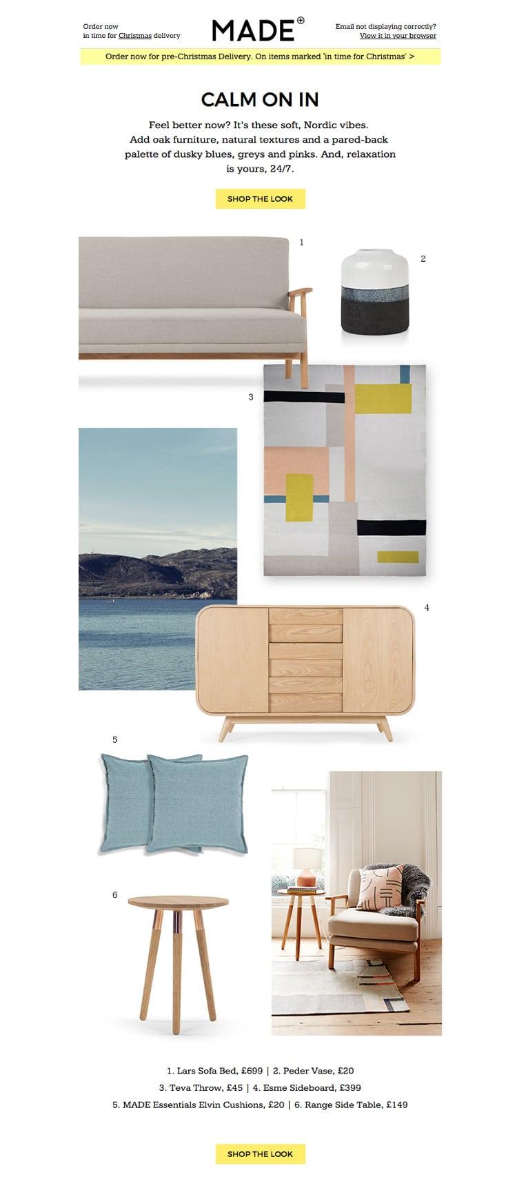e-newletter email newsletter marketing design layout inspiration furniture made lifestyle