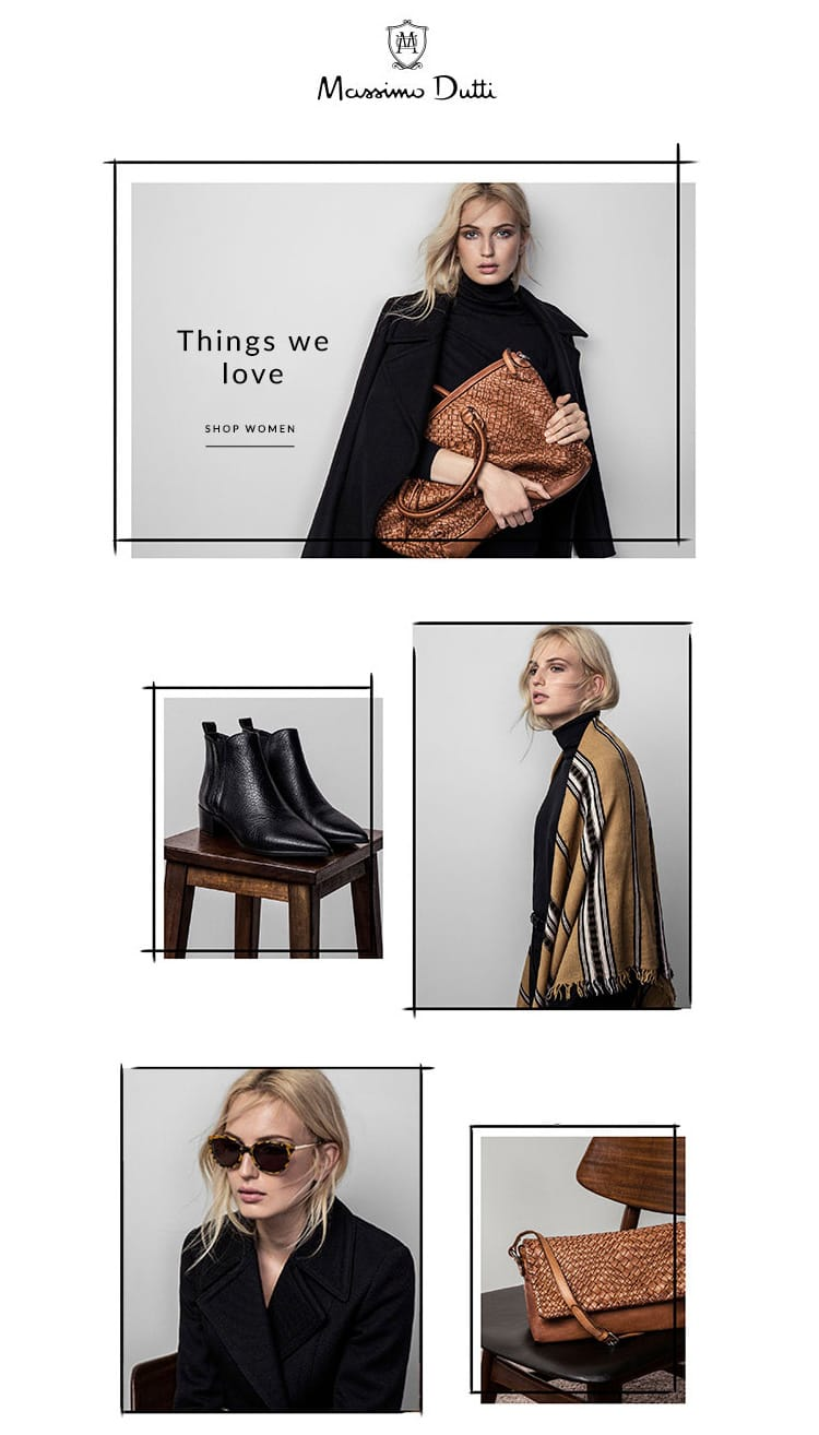 e-newletter email newsletter marketing design layout inspiration massimmo dutti fashion luxury elegant frames