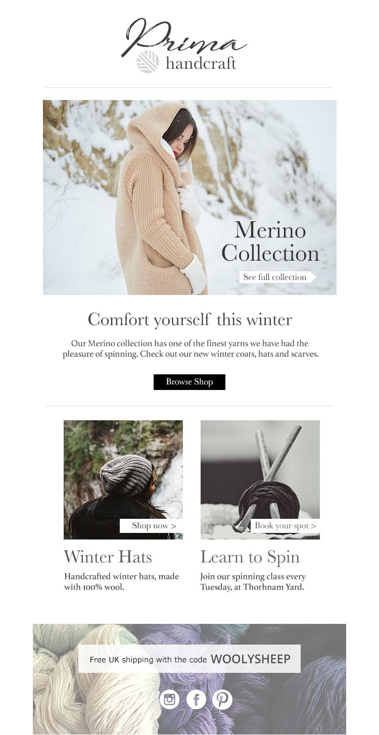 e-newletter email newsletter marketing design layout inspiration lifestyle fashion prima knitwear winter christmas