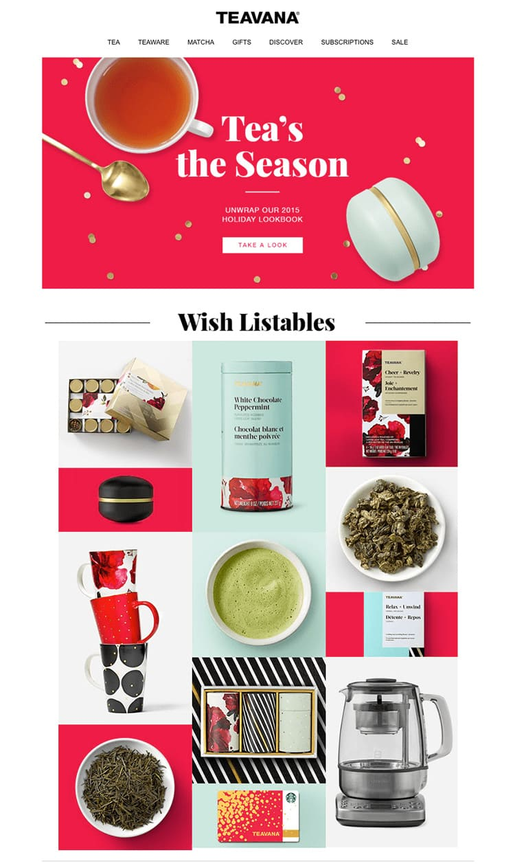 e-newletter email newsletter marketing design layout inspiration teavana tea festive holidays christmas food drink