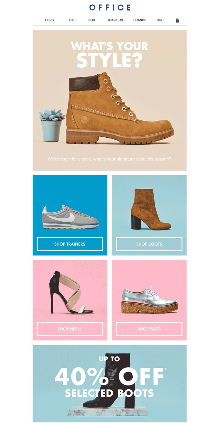 e-newletter email newsletter marketing design layout inspiration office shoes colorful modular grid