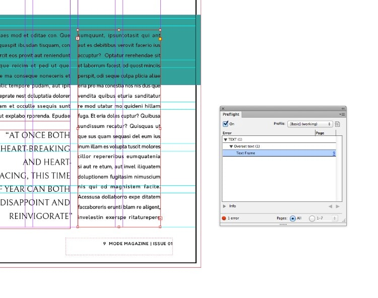 overset text indesign solutions get rid of excess text preflight error