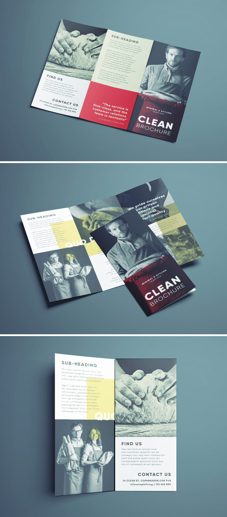 Amazing Clean Trifold Brochure Template Free Download - Free template brochure download