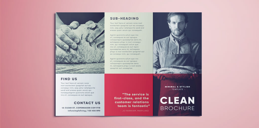 Amazing Clean Trifold Brochure Template Free Download