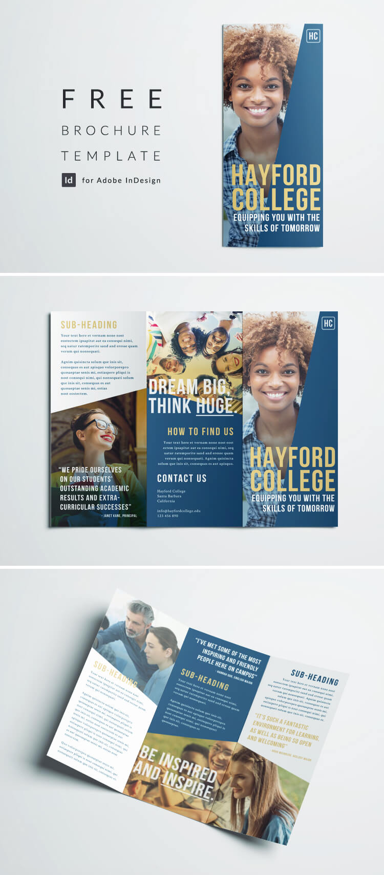 Free College Brochure Template Simple Tri Fold Design