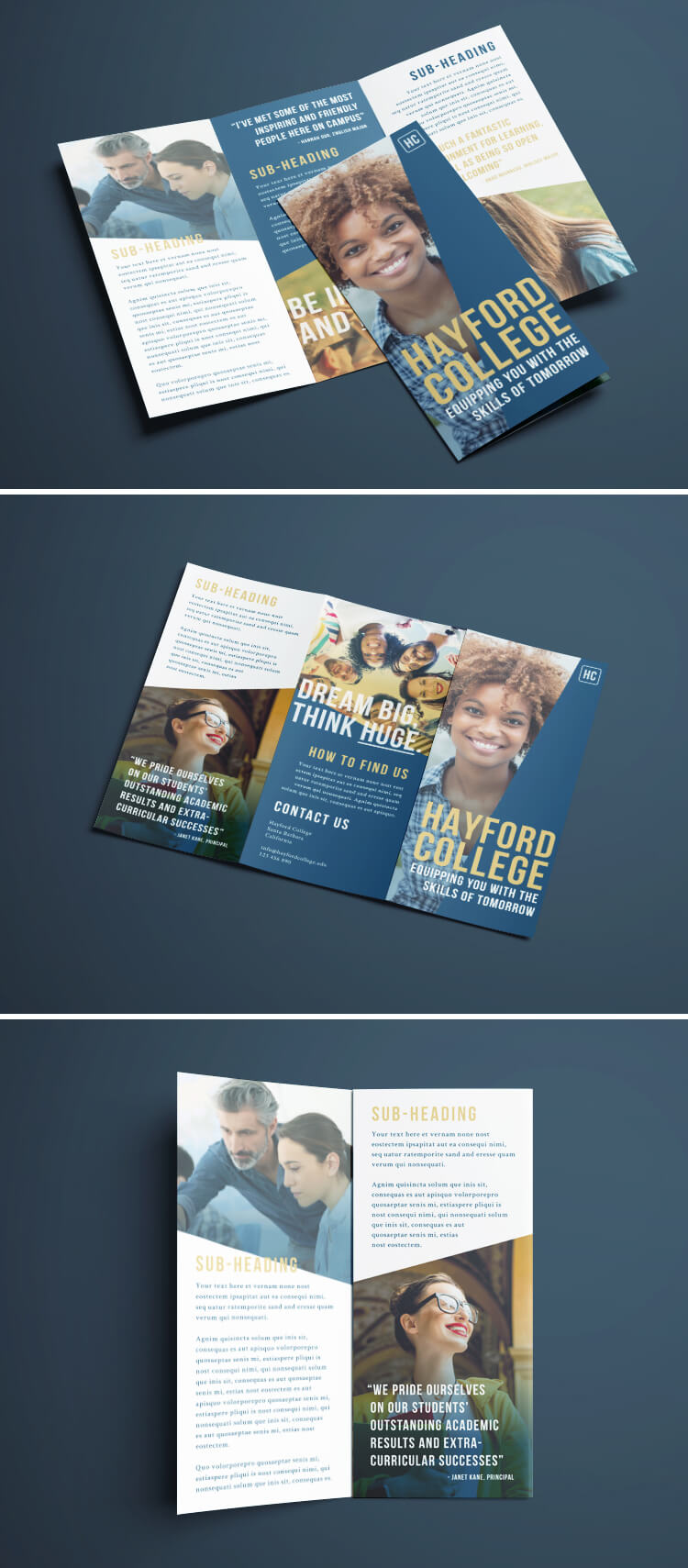 free tri fold brochure layout download smart blue gold white college design