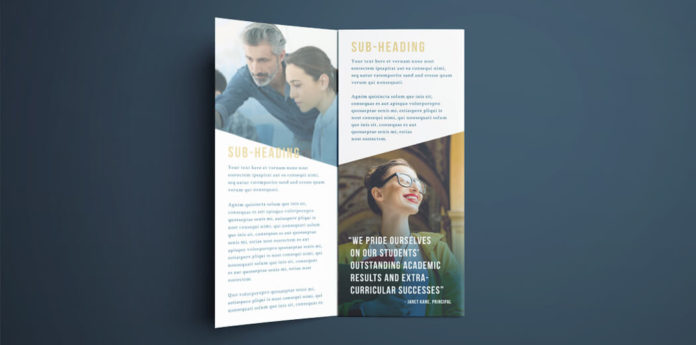 tri fold indesign brochure template free college brochure layout dark blue and gold