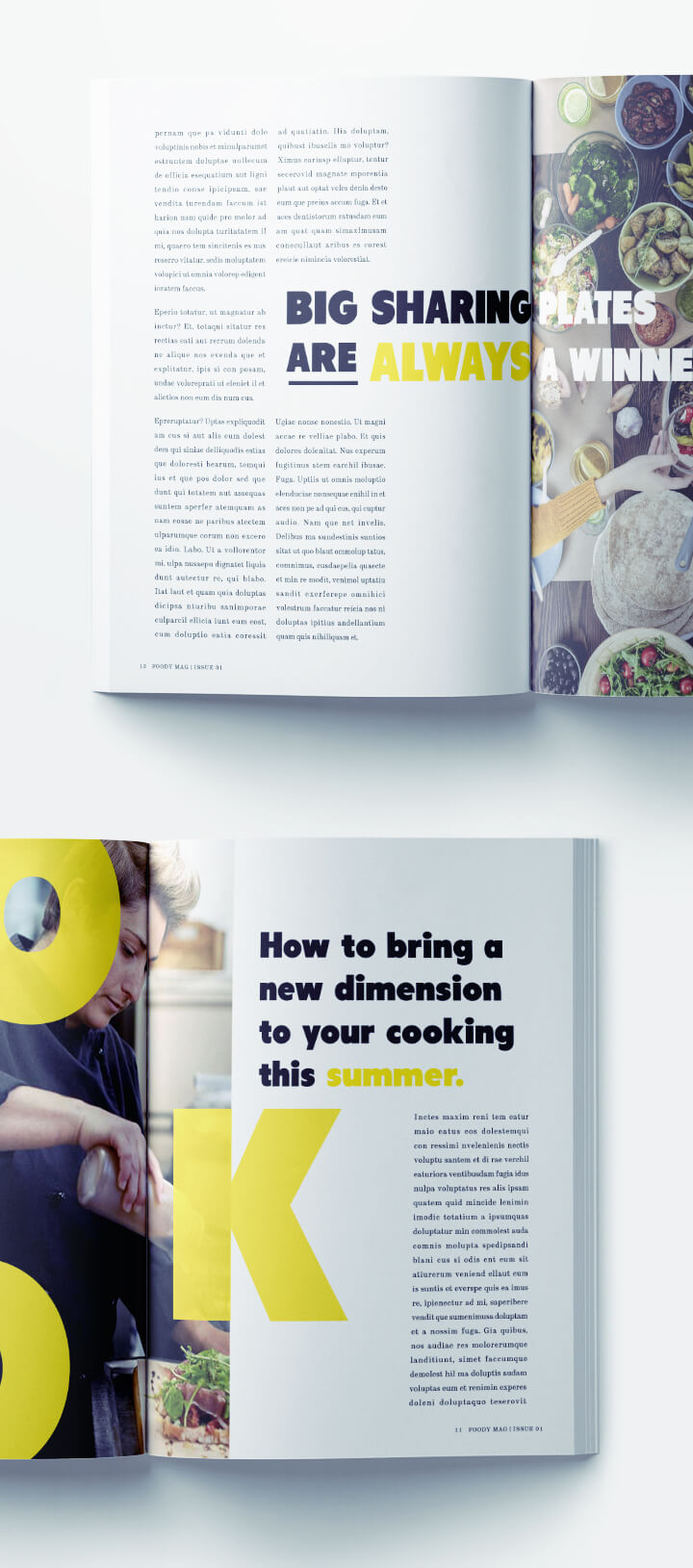 Food Magazine Layout Template - Yellow Typography Magazine Spread Modern Design